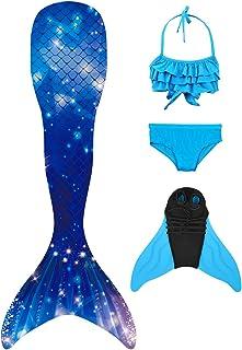 SPEEDEVE Cola de Sirena para Niños con Monoaleta con Elemento Animal de Nieve de Estrella de Mariposa