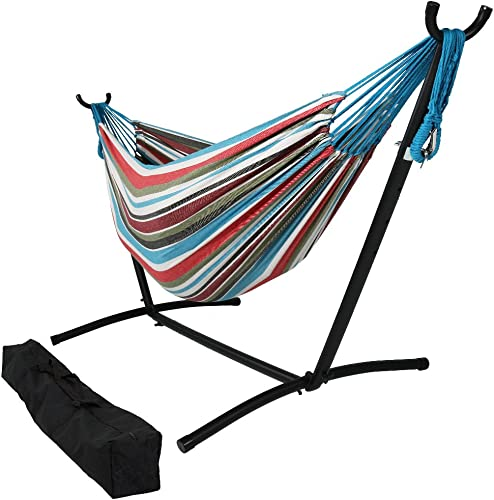 new arrival Sunnydaze Double Brazilian Hammock with Stand & Carrying Case - Large Two Person outlet sale Hammock with Brazilian Stand - 400 Pound lowest Capacity - Cool Breeze outlet online sale