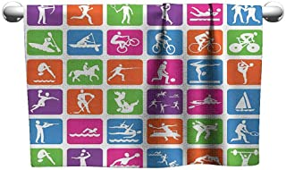 Cotton Hand Towels Olympics Decorations Collection Collection with 36 Sport Icons Basketball Cycling Diving Mountain Bike Wrestling Image Popular Bath Towels 39 x 10 inch Green