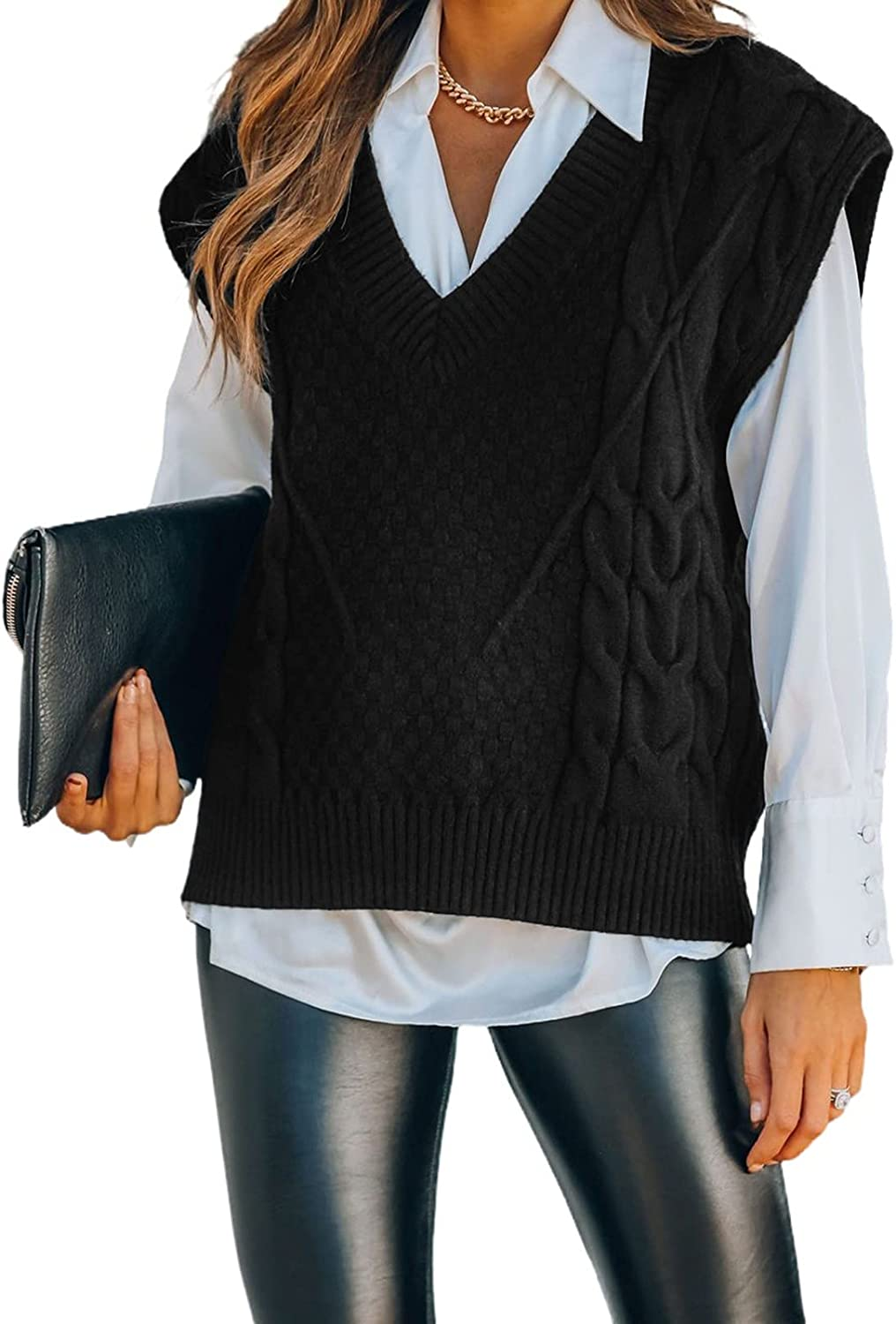 Uusollecy Women V Neck Sweater Vest, Sleeveless Knit Pullover, Elegant Winter Cable Kint Tops