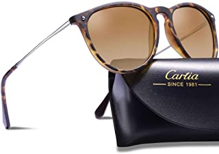 7b6d53de42d Carfia Polarized Sunglasses for Women Men Vintage Style 100% UV400  Protection
