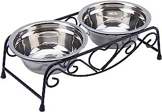 مغذيات للكلب وأواني مياه وطعام مزدوجة للقطط والكلاب وحامل أطباق من الاستانلس ستيل من بيتيتو