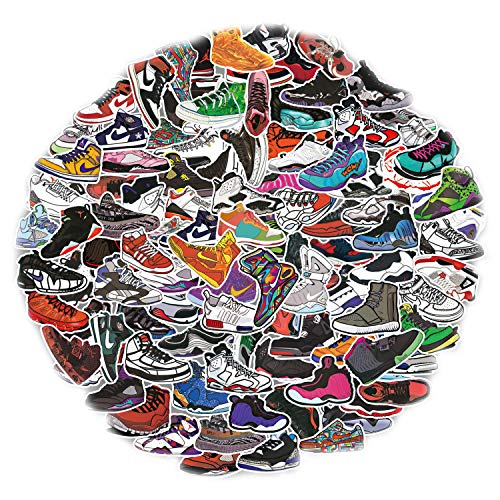 Yubbaex AJ Sneaker Stickers 100 Pcs Jordan Laptop Stickers Pack Cool Vinyl Waterproof Sticker for Pad MacBook Car Snowboard Bicycle Luggage Decal (AJ Sneakers 100 Pcs)