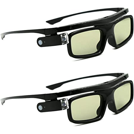 3Dメガネ、3D DLP-Linkプロジェクター用アクティブシャッター充電式アイウェアAcer、BenQ、Optoma、Viewsonic、フィリップス、LG、Infocus、NEC、Jmgo、Vivitek、Cocar、Toumei - 2パック