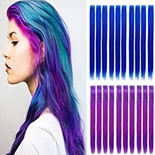 20PCS Colored Clip in Hair Extensions Kid Hair Extensions 22'' Blue Straight Hair Extensions Clip in for Kids Multi-Colors...