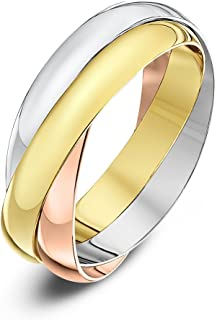 (S, 3 Millimetres, Yellow, White and Rose) - Theia Unisex 9 ct Rose, White and Yellow Highly Polished Gold Russian Wedding Ring
