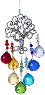 H&D Crystal Suncatcher Tree of Life Window Ornament with 20mm Crystal Ball Prism