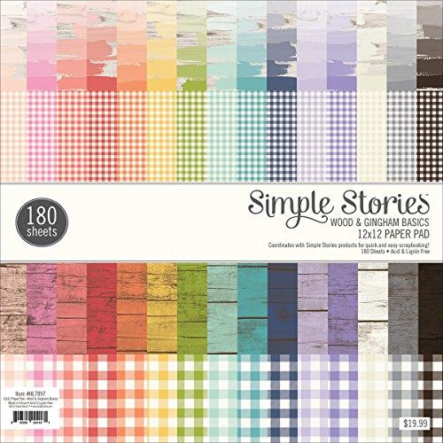 Simples étages Bois et Bloc de Papier Vichy, Multicolore, 12 x 30,5 cm