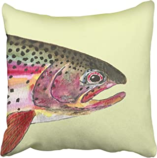 SPXUBZ Watercolor Fish Rainbow Trout Fishing Cotton Throw Pillow Cover Home Decor Nice Gift Indoor Pillowcase Standar Size (Two Sides)