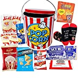 Perfect POPCORN LOVER Movie Night. Game Night Snacks Gift Basket box | w/ Socks, Tin, Popcorn Variety, | Care Package Birthday for Kids, Graduation Family, College, Teacher appreciation, Mother's day