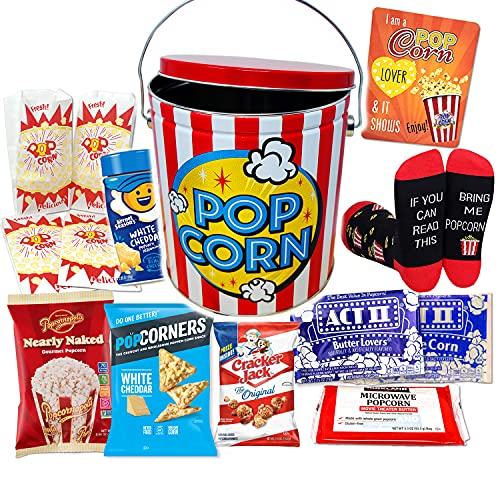 Perfect POPCORN LOVER Movie Night.Halloween gift, Game Night Snacks Gift Basket box   w/ Socks, Tin, Popcorn Variety, Birthday gift for Kids or Family, Graduation, College or military care package