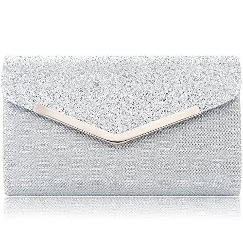 LONGBLE Damen Clutch Elegante Envelope Tasche, Handtasche Glitzer Abendtasche mit abnehmbarer Kette für Hochzeit Party Abschlussball, Silber