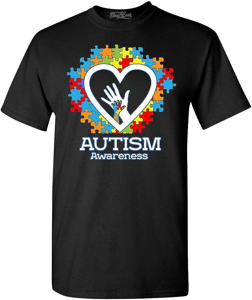 specialty shop shop4ever Autism Awareness Popular brand Hands T-Shirt in Heart