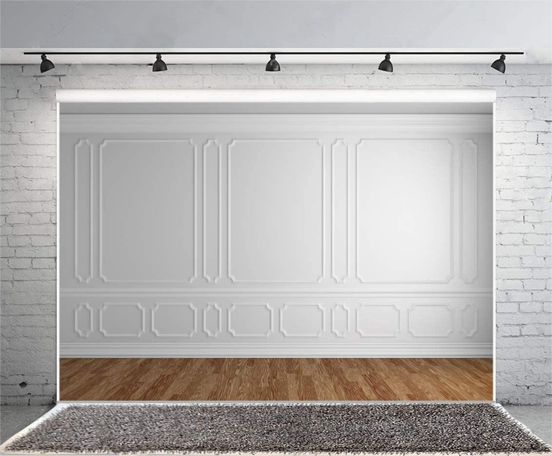 Laeacco Empty Room Architectural Background 10x8ft Vinyl Photography Background Wooden Floor Classic Gray White Wall Backdrop Houses Flats Interior Vintage Gray White 3D Blank Decor Elegant Backdrop
