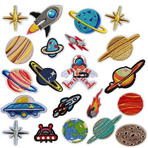 MWOOT Flicken Patches, 21 Stück Raum Astronaut Zum Aufbügeln Patch Sticker Applikationen Zum Nähen Oder Aufbügeln für Denim Jeans, Hosen and Jacken, Bügelflicken Set, Dekoration and Repariere