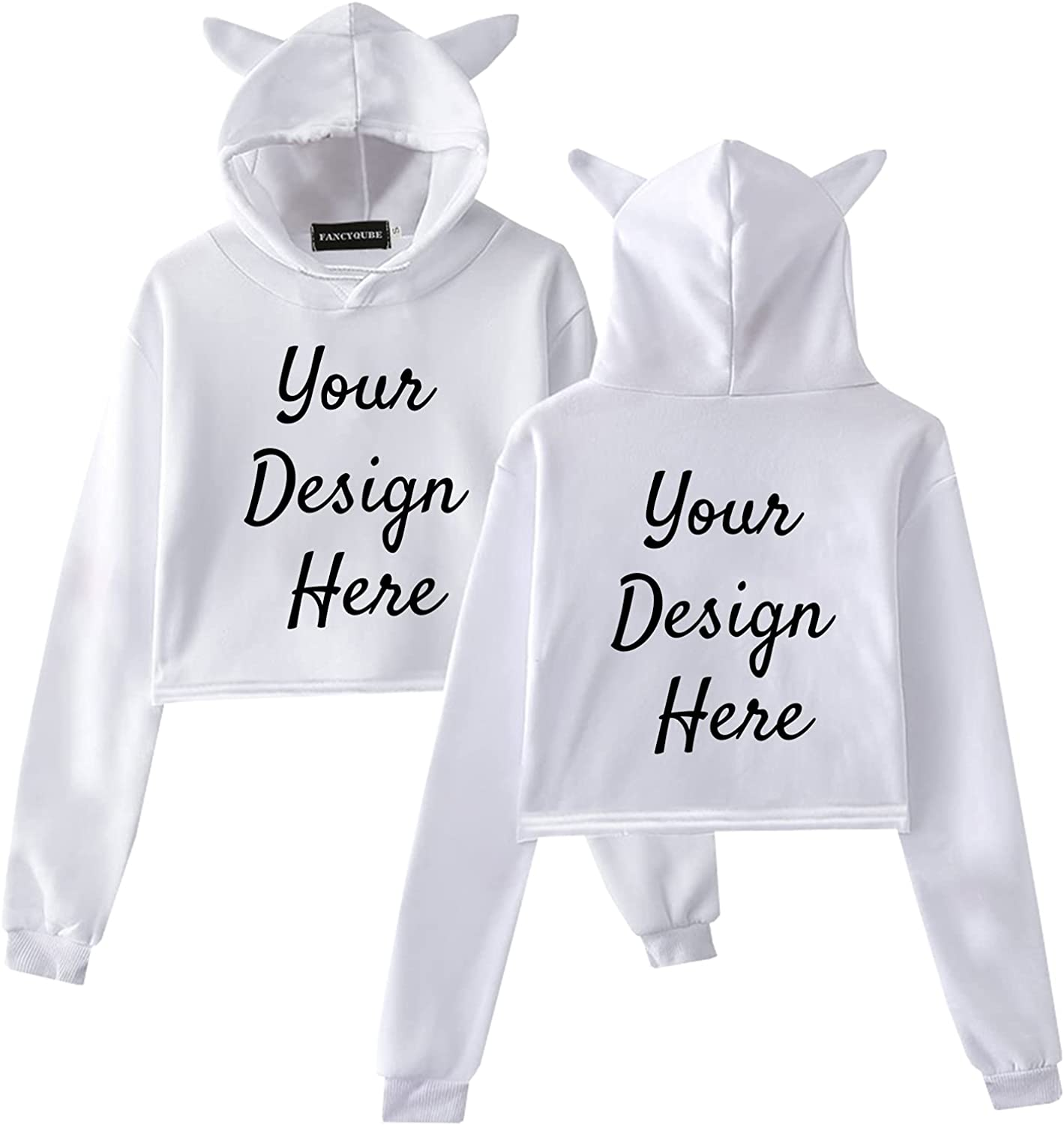 SWIMFUN Customized Women Hoodie, Long Sleeve Sweatshirt, Casual Loose Crop Top, Printed Front &Back With Image/Text