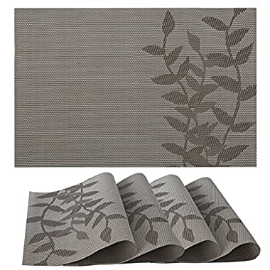 Placemats Set of 4| Vinyl PVC Placemat Table Mats | Non slip | Heat Resistant (Coffee Floral)