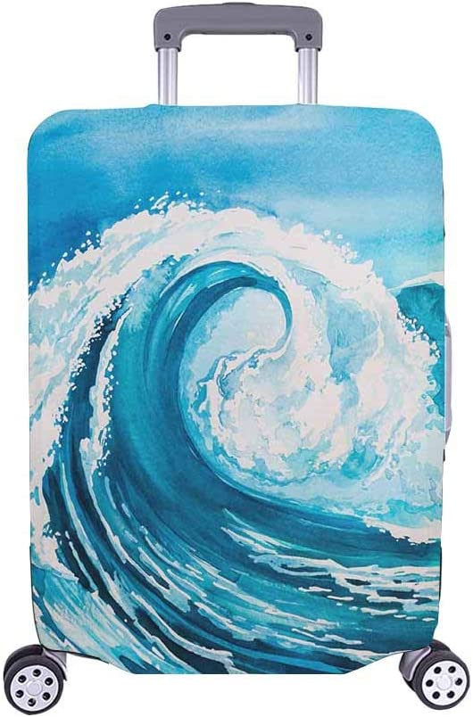 InterestPrint Watercolor Blue Sea Water Protec OFFicial Mail order cheap Case Wave Luggage