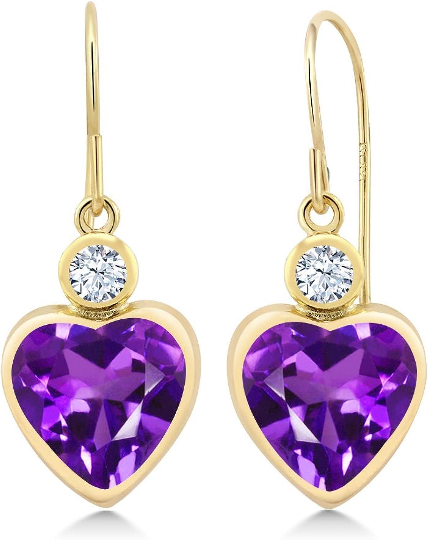 3.42 Ct Heart Shape Purple Amethyst 14K Yellow gold Earrings