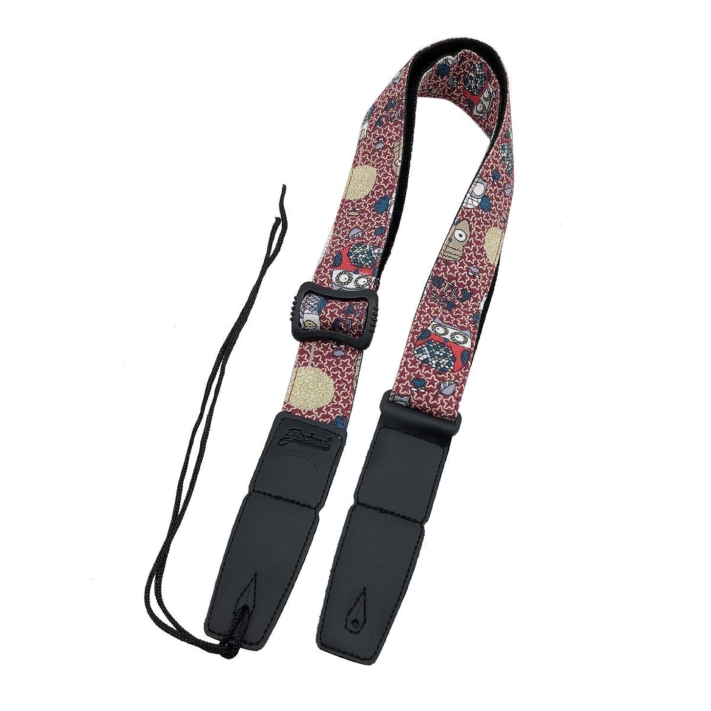 Jiuxun Ukulele Strap Adjustable Shoulder Soft Cotton Linen and Genuine Leather Multifunctional Straps (Red Owl)
