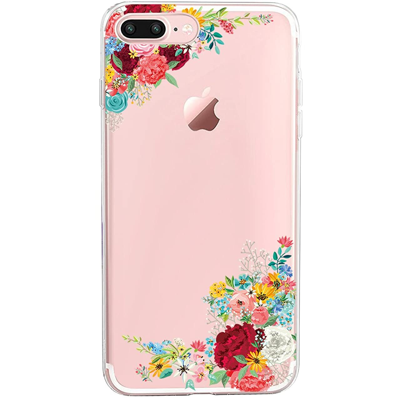 iPhone 7 Plus&8 Plus Case,Floral Pattern Clear TPU Case for iPhone 8 Plus