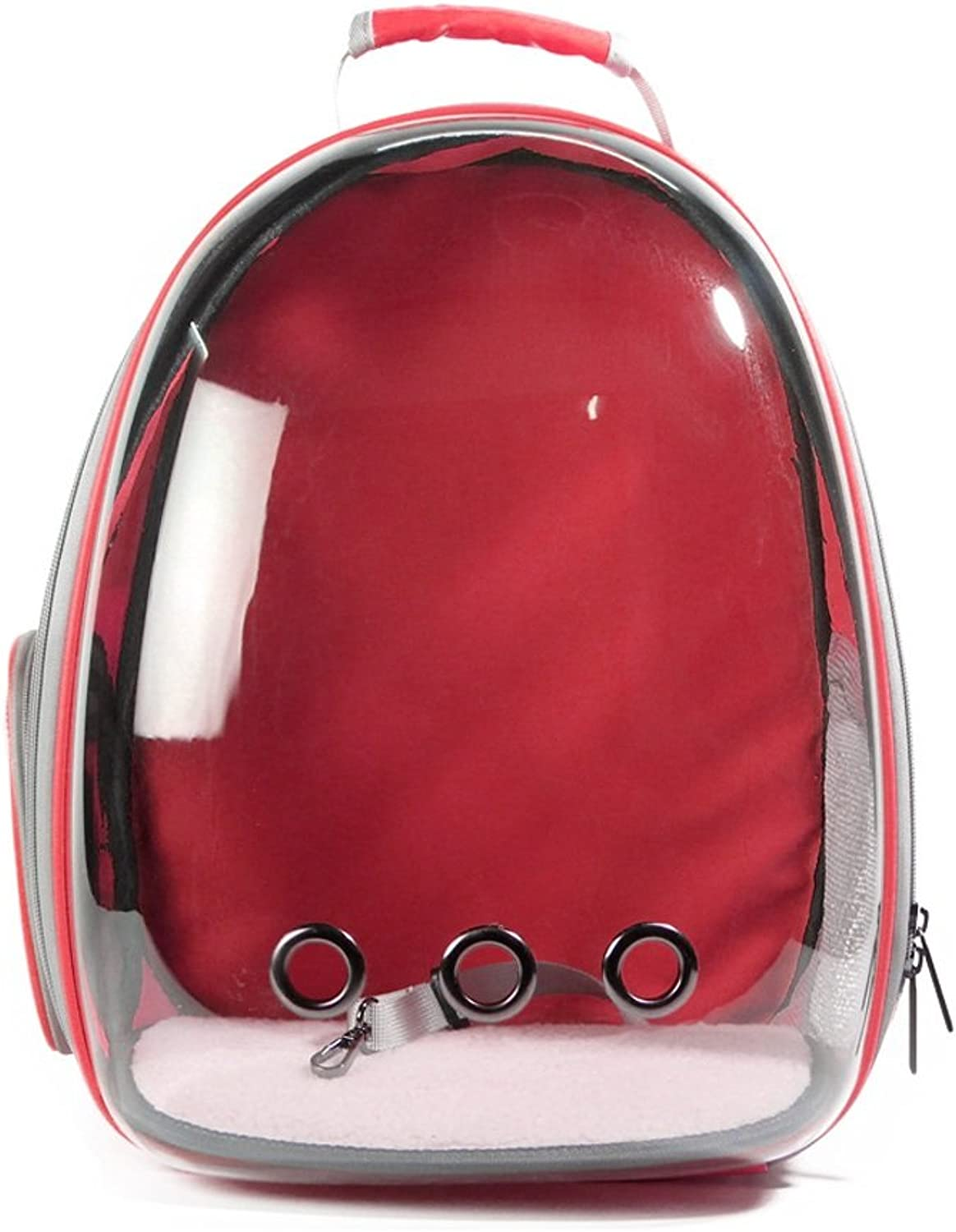 Red Transparent Space Capsule Breathable Waterproof Pet Backpack Carrier Astronaut Pet Cat Dog Puppy Carrier Bubble Travel Bag Outdoor Portable Premium Backpack 33cmX28cmX44cm