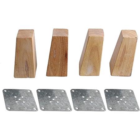 RDEXP Patas cuadradas de madera de color 12 cm de altura total de madera con forma trapezoidal para patas de muebles, juego de 4