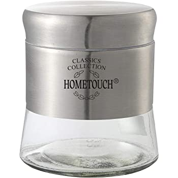 HomeTouch 2pc Glass jar Set with Metallic Finish, Air Tight Jars (Silver, 450ml Small)