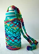 Cotton Crochet Crossbody Water Bottle Bag Rainbow Drink Carrier Holder Beverage Cozy Sling Tote