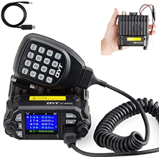 QYT KT-8900D Dual Band Mini Car Ham Radio Mobile Transceiver VHF UHF 136-174/400-480MHz Compact Amateur Two Way Radios + F...