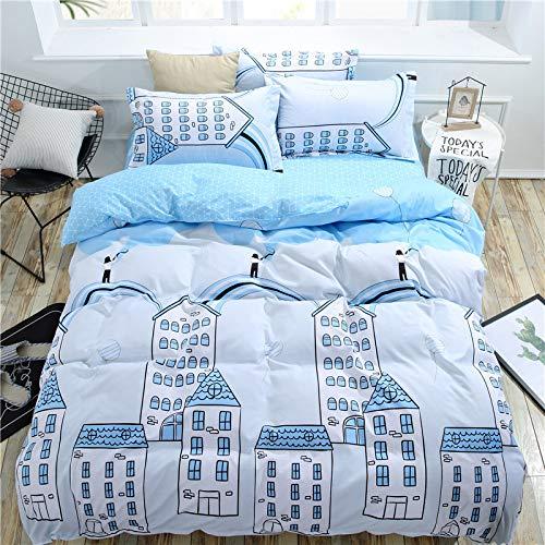 BSTLY Bettwäsche Baumwolle Gestreift Einfach Gedruckt Reißverschluss Kissenbezug Bettbezug 4 teilig Big Dreamer Bettbezug 200x230cm Bettlaken 230x230cm