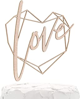 NANASUKO Wedding/Engagement Cake Topper - love - with Modern Geometric Heart Frame - Double Sided Rose Gold Glitter - Premium Quality Made in USA