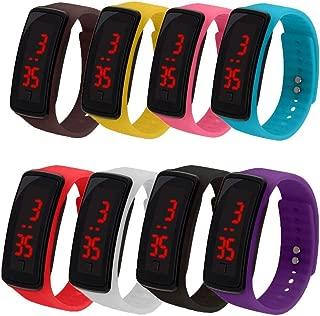 CdyBox 8 Pack Wholesale Men Women Kids Digital Wristwatch Touch Screen LED Bracelet Silicone Band Watch