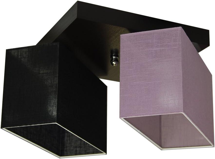 Deckenlampe - HausLeuchten JLS22BRECD - Deckenleuchte, Leuchte, Lampe, 2-flammig, Massivholz Schwarz Lila