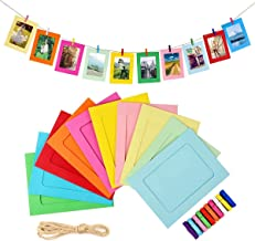 Paper Photo Frame Set with Wooden Clip and String 10PCS/ 1 Set Wall Photo Frame Hanging Picture Album Party Home, School a...