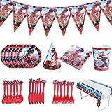 CYSJ Vajilla de cumpleaños de niños, 78 PcsConjunto de Suministros de Fiesta de Ladybug, Suministros Fiestas Set,Juego Vajilla Fiesta Cumpleaños Papel,Vajilla Cumpleaños Decoracion para Niños