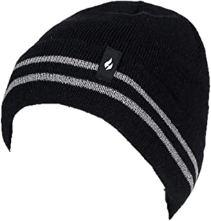 Heat Holders Warm Winter WRK Thermal Beanie Hat with Reflective Stripes (Black)