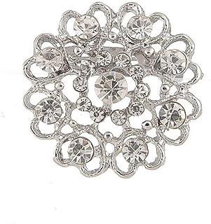 Cosanter Broche Alfiler Forma de Corazón Diamantes de Imitación Aleación Joyas para Novia Boda Color Plata