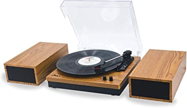 LP&No.1 Retro Belt-Drive Bluetooth Turntable with Separable Stereo Speakers,3 Speed Vinyl Record Player,Yellow Brown