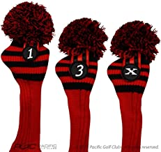 Pacific Golf Clubs Head Covers 1 3 X Black and Red Knit Retro Old School Vintage Stripe Pom Pom Throwback Classic