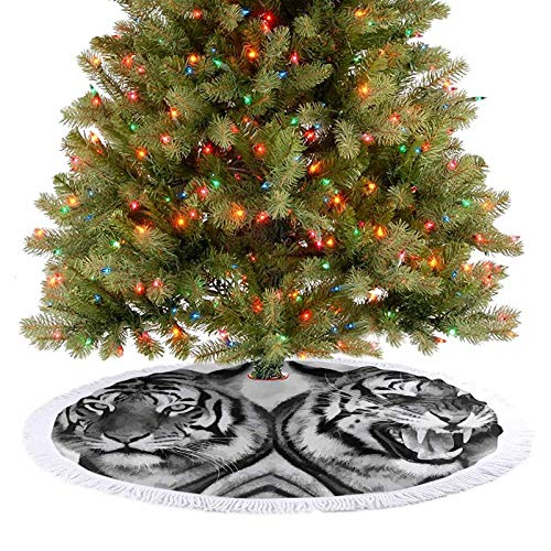 Adorise Christmas Tree Skirt Cat Expression Opposite Images Fearsome Teeth Mirror Angry Intense Wildlife Christmas Decoration for Holiday New Year Decorations - 48 Inch