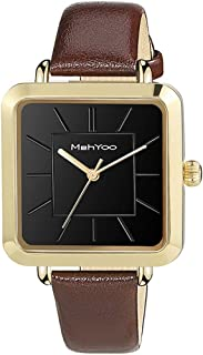 MehYoo Gold Watches for Women, Waterproof Brown Leather Square Women Watch, Japan Quartz Movement