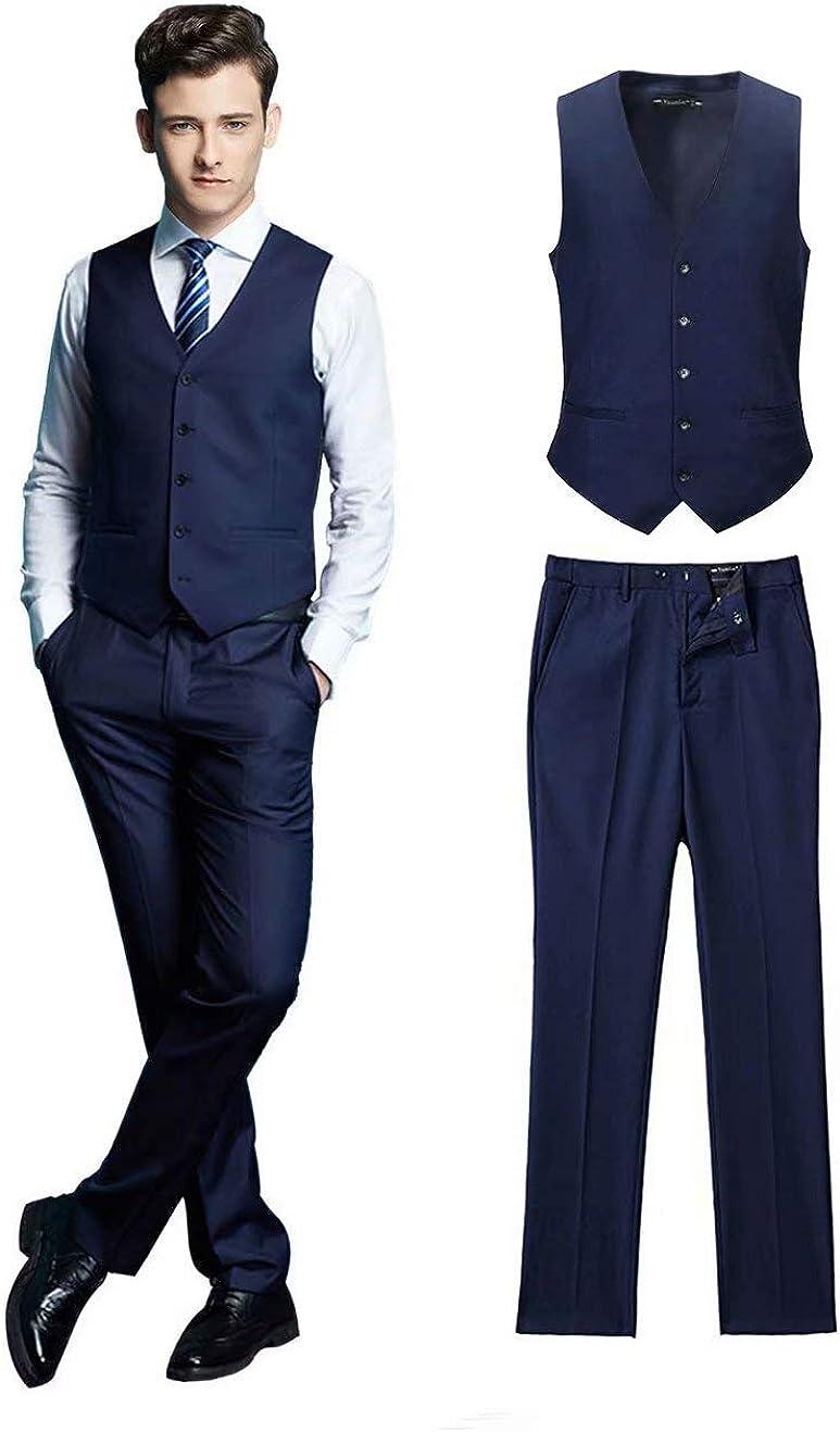 Wehilion Vest Pant Men 2 Pieces Dress Suit Vest Pant Set Slim Fit Casual Suit Waistcoat