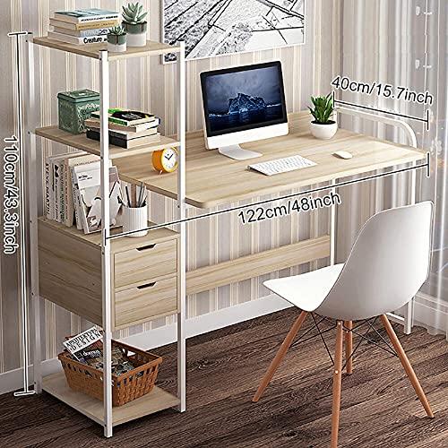 Zjcpow Escritorio de ordenador de escritorio para el hogar, estudiante con estante de almacenamiento y 2 cajones simple para dormitorio, oficina, escritorio, PC, portátil, estudio, mesa de juegos