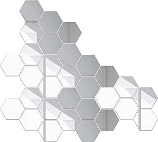 Perfk Hexagon Mirror Wall Sticker 100 Pieces Acrylic Mirror 3-D Wall Stickers for Living Room Entrance Hallway Stairs Pers...