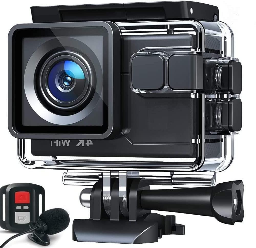 Action Camera 4K 20MP Underwater Waterproof Camera with EIS, External Mic, Remote Control, Slow Motion, Timelapse, 170° Wide Angle Sports Cam w/Gopro Compatible Accessories, 2 Batteries