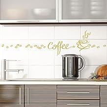 Grandora Muursticker Koffie Koffie Mok Koffiebonen I Goud Creatieve Set I Eetkamer Koffiehoek Keuken Sticker Muursticker S...
