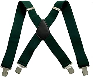 50mm Extra Wide Heavy Duty X-Back Adjustable Elastic Men's Suspenders Clip On Braces Trouser
