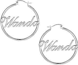 Orecchini con nome Orecchini personalizzati Orecchini con incisione Nome Dangler Round Eardrop Anniversary for Women