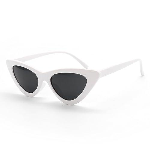 c866cbe9b2 Livhò Retro Vintage Narrow Cat Eye Sunglasses for Women Clout Goggles  Plastic Frame